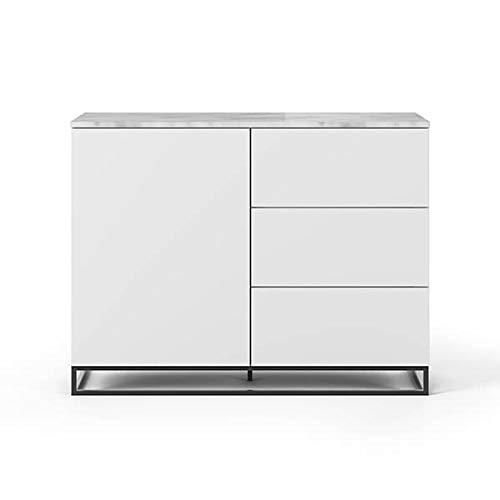 Buffets Design et élégants, Collection Join, signée TEMAHOME. - Join 120H2, piétement Acier Noir, Blanc Mat, Plateau en marbre Blanc