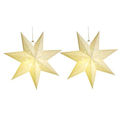 Garneck 2 Piezas de Papel Linterna Estrella Pantalla Papel Estrella Pentagrama Pantalla Decoración 3D Estrella Colgante Luz para Decoraciones Colgantes de Fiesta de Boda