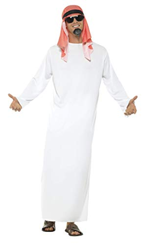 """Smiffys-24805M Disfraz de jeque, con túnica Larga y Tocado, Color Blanco, M-Tamaño 38""""-40"""" (Smiffy"""