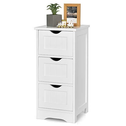 COSTWAY Estante de Baño Mueble Blanco Cómoda con Cajones Cajonera Multiuso para Oficina Salón Habitación (3 cajones)