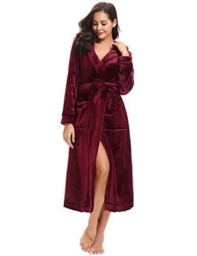 Aibrou Donna Vestaglia Lunga Invernale con Cappuccio in Flanella, Accappatoio Spugna Lungo con Cintura in Pile Corallo Vino Rosso XL