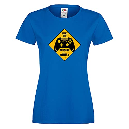 Gamer Girl T-Shirt Start The Mission Nerd Arcade Video Game PC Game Old School Woman Gamer Shift Gift Women Tshirt (Blue, XXL)