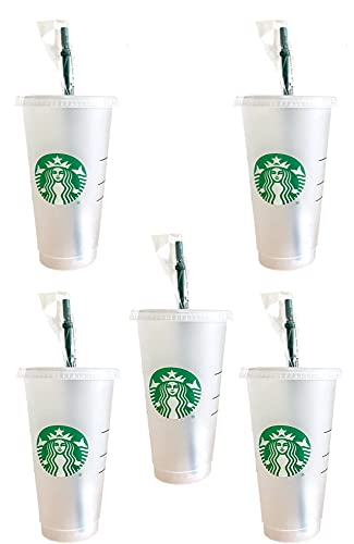 Starbuck 5 Pack Bundle - Reusable Frosted 24 oz Cold Cup with Lid and Green Straw w/Stopper