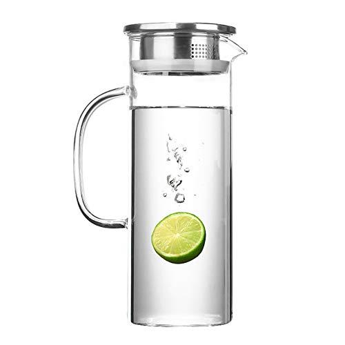 Jarra de agua de cristal con tapa de 1200 ml – Jarra de jugo – Jarra de agua para té caliente y bebidas heladas