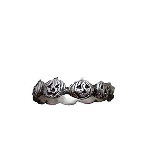 TrifyCore Halloween-Kürbis-Ring-Weinlese-Art-Halloween-Kürbis-Finger-Ring Unisex Halloween-Party-Schmucksache-Zusatz-Geschenk-Antike-Silber-6