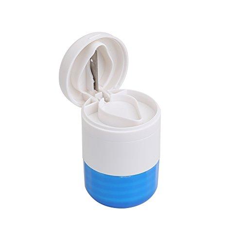 Shintop Tabletten Dose, Mühle, und Schneider 3-in-1 Multifunktionale Tablettenmörser und Tablettenteiler Reise Pillendose (Blau)