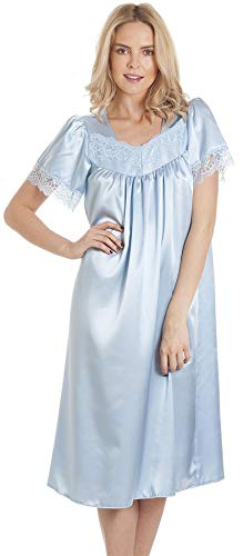 Armona Trading LTD Damen Nachthemd mit kurzen Ärmeln, Spitze, Satin, Größe 38-56 Gr. 52-54, hellblau