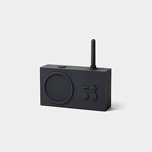 Lexon Tykho 3 FM Radio, Bluetooth Speaker, 5W, Splash Proof IPX4, Autonomy 20 Hours, Silicone Rubber Case - Dark Grey