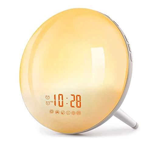 Lichtwecker, Wake Up Light, LED Kinder Nachtlicht mit 2 Alarme/Snooze/Schlafhilfe/Sonnenaufgang/Untergang-Simulation/7 Wecktöne/FM Radio 20 Helligkeitsstufe/16 Volumen einstellbar