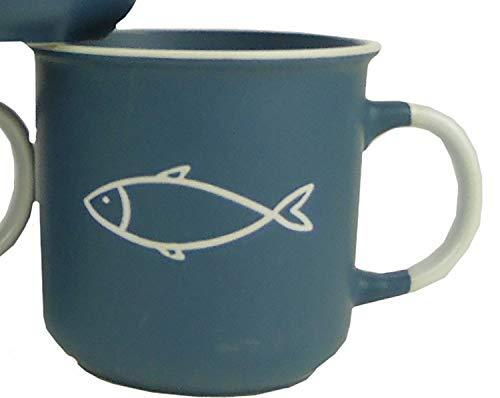 osters muschel-sammler-shop Kaffeebecher-Tasse maritim - Keramik ┼ 400ml ┼ Teebecher ┼ Strandtasse-Becher ┼ Geschenk-Artikel (Blau mit Fisch)