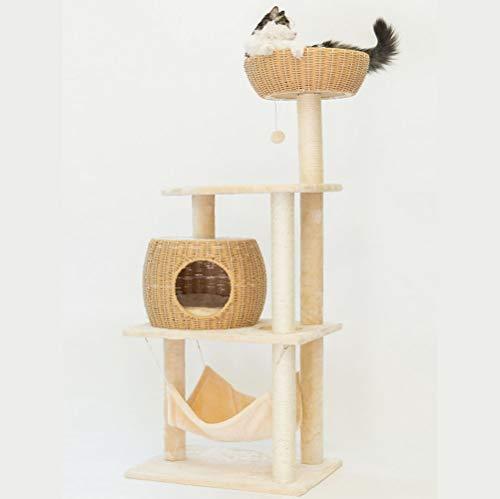 GOOCO Katzenbaum Kratzbaum Kratzbäume Katzenmöbel Mit Sisal-Seil Plüsch Liege Höhlen Spielhaus Spielzeug Für Katzen,viel Platz Zum Toben Und Schlafen, Stabil
