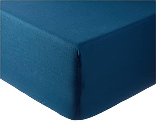 douceur d'intérieur 1642650 Drap Housse 2 Personnes, Coton, Bleu Nuit, 160 x 200 cm