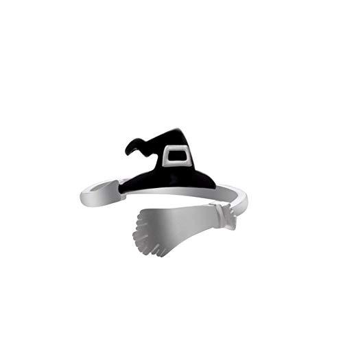 Yisily Halloween Ring Multi-Form-Hexenhut Besen Kürbis Ring Kreative Kürbis Lampe Hohler Ring Einfacher Justierbare Ring-Geöffnete Ring-Partei Cosplay Schmuck J223-3 Typ