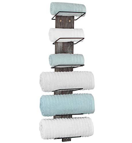 J JACKCUBE DESIGN Wall Mount Rustic Wood and Metal Towel Rack 6 Tier Shelf Holder for Shower & Hand Towels for Bathroom Hanging Storage Multi-Rack - MK594A
