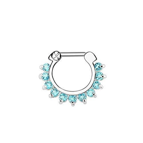 1 PCS Pendiente Nariz Mujer Barra en Forma de U con Zirconia Piercing Hombre Plata Azul