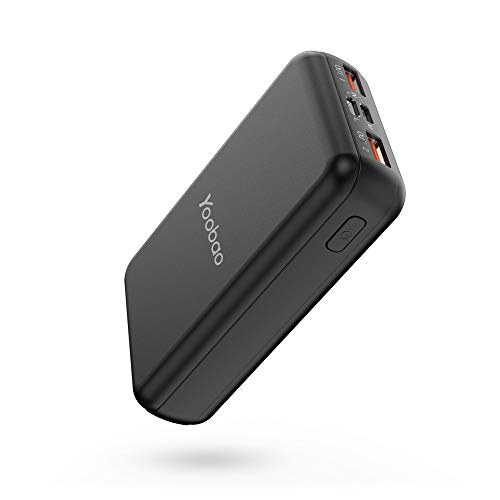 Portable Charger 10000mAh, Yoobao Ultra Compact Power Bank External Battery Charger Powerbank Cell Phone Battery Backup with Dual Input and Output Compatible iPhone Xs/X/8/7, Samsung & More - Black