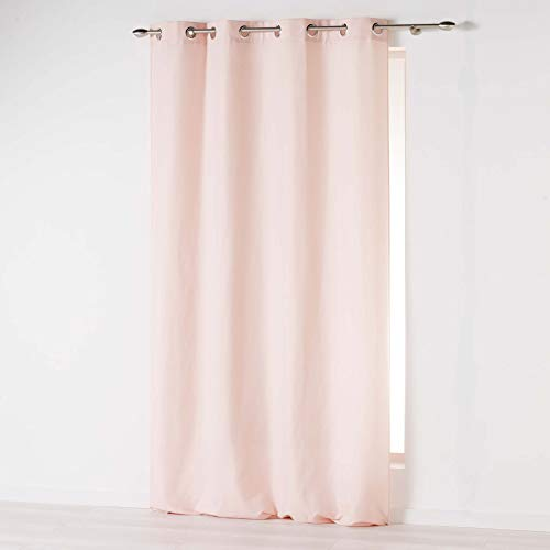 douceur dintérieur Absolu Rideau a Oeillets 140 x 260 cm Microfibre Unie ABSOLU Polyester, Rose Pale, 260x140 cm