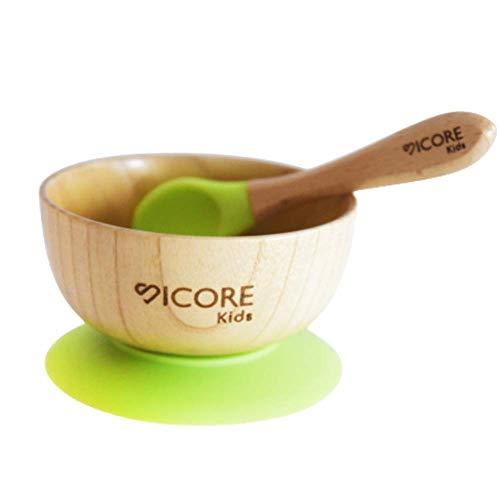 Set de bowl y cuchara de bambu para bebé | Bowl de bambu adherente a superfícies porosas y aislante de calor| Cuenco antideslizante para bebe | Bowl para BLW | Cuenco de silicona BPA free para bebe