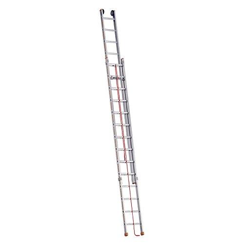 Layher 1037014 Seilzugleiter Topic 14, Aluminiumleiter 2x14 Sprossen, zweiteilig, ausziehbar, Länge 7.10 m