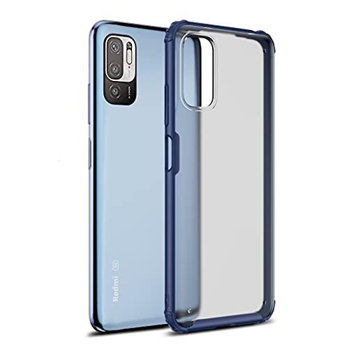 GOGME Funda para Xiaomi Redmi Note 10 5G Estuche, [Tacto Sedoso Mate] Premium Silicona Ligera Delgado PC + TPU Bumper Espalda Transparente [Anti-Amarillo] Carcasa Rubber Shockproof Caso, Azul