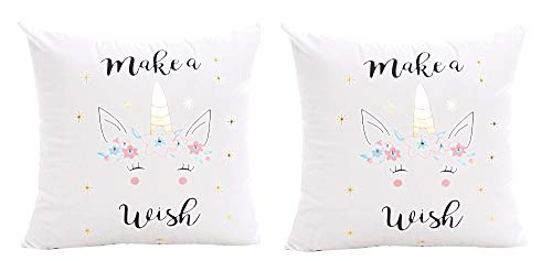 2 fundas de almohada cojín cuadrado - cojín ornamental - 44 x 44 cm - sofá - lino - hogar - cama - muebles - dormitorio - pide un deseo - unicornio - blanco - multi - idea de regalo original