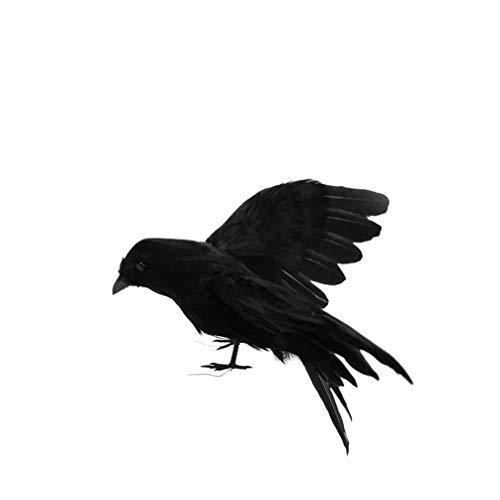 Amosfun Cuervo Figuritas Cuervo Emplumado Cuervo Realista con Alas Extendidas Plumas Pájaros Figura Accesorios para Suministros de Fiesta de Disfraces de Carnaval
