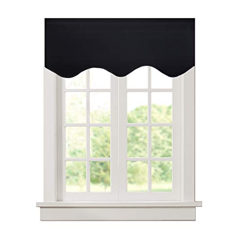 Aquazolax Kitchen Valances for Windows Readymade Blackout Window Scalloped Valance Curtains, 52inch by 18inch, Black, 1 Piece