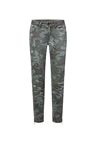 SOCCX Damen All-Over-Print Jeans EL:LA mit 3D-Shape am Knie