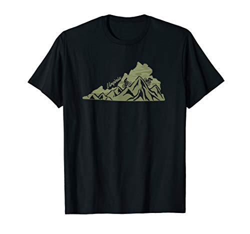 Virginia Mountain Bike Riding VA Biking Blue Ridge State Map T-Shirt