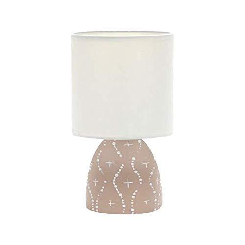 Unishop Lámpara de Mesa de Noche E14, Base de Cerámica y Pantalla de Tela, Color Beige con Motivos Blancos, Decoración Sencilla de Hogar