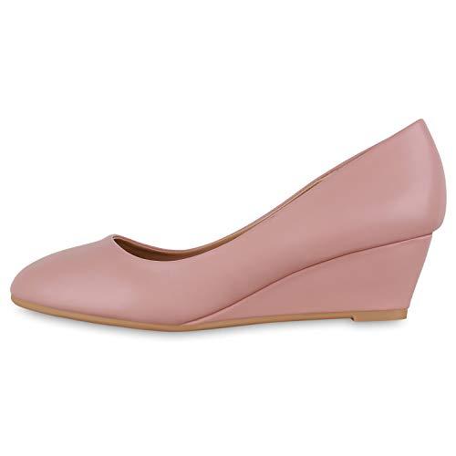 Giralin Damen Pumps Keilpumps Klassische Keilabsatz Freizeit Schuhe Elegante Kunstleder Abendschuhe 179772 Rosa 39