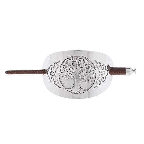 Baoblaze Pasador de Madera Tradicional Tallado a Mano Pinza Pin de Pelo Joyas Mujeres - 1, 14 cm / 5.51 pulgadas