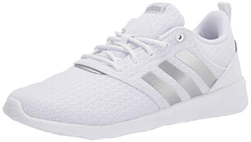 adidas,womens,QT Racer 2.0,White/Silver Metallic/Grey,7.5