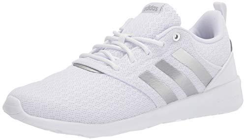 adidas Women's QT Racer 2.0 Running Shoe, White/Silver Metallic/Grey, 7.5