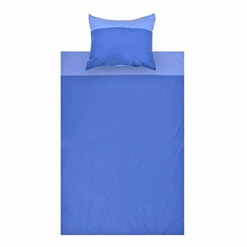 Parure de lit enfant Parure de lit multicolores Parure de lit garnituren Parure de lit 200 x 140 cm Taie d'oreiller 50 X 70 Enfant Garçon Fille Coton Lit enfant Taille Enfant – Parure de lit, Parure de lit pour enfants 2 pièces, couleur : bleu clair/bleu foncé