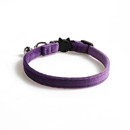 Eogrokerr - Collare per gatti in velluto, con fiocco, regolabile, con fibbia di sicurezza regolabile, per gatti, animali domestici, per cani, gatti, animali domestici, collare viola