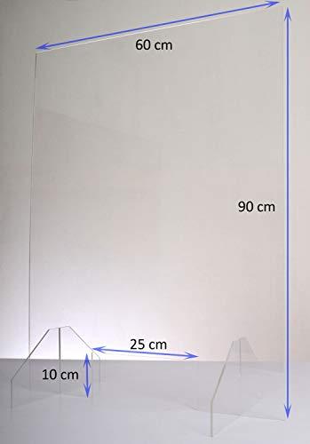 Queence | Hochwertiger Spuckschutz aus Acrylglas | Ideal für Verkaufs-/ und Empfangstresen | Thekenaufsteller | Protector, Größe:60x90 cm