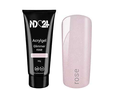 30g POLY ACRYLGEL EFFEKT TUBE Glimmer rose - LED/UV Acryl Gel - Nägel Modellage System - Studio Qualität MADE IN GERMANY