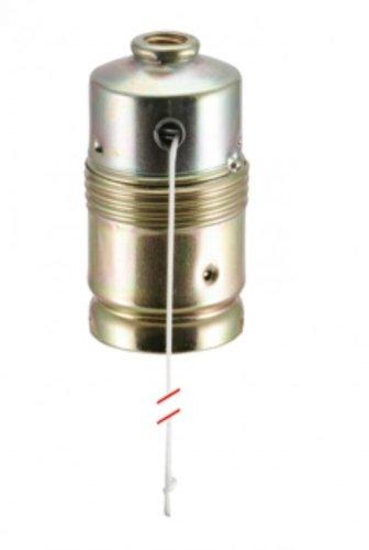 Lampen Metallfassung E27, vermessingt mit Zugschalter