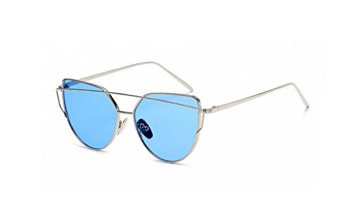 Bi hai Rétro en métal Couleur Film Lunettes Anti-Ultraviolet Lunettes de Soleil + Lunettes (Couleur : Bleu)