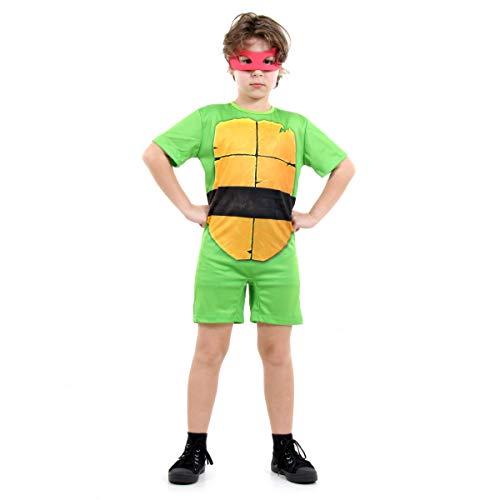 Sulamericana Fantasias Tartarugas Ninjas Curto Raphael Infantil, M 6/8 Anos, Verde/Bege/Vermelho