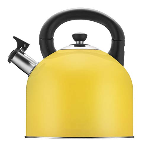 GAODA 4.0 Liter Stainless Steel Whistling Kettle, Home Light Weight Tea Kettle, Universal Top Kettle With Whistle Tea Pot For Induction Hobs Gas Ceramic Kitchen Camping Stovetop Kettles(Color:Yellow)