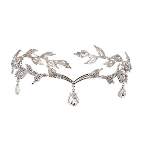 Minkissy Diamante de imitación de hoja de boda para dama de honor,...