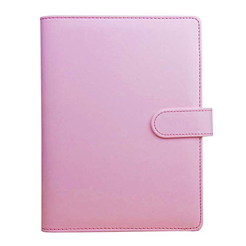 Raccoglitore per notebook A6 in pelle PU, ricaricabile, per agenda personale, con 6 anelli rotondi e chiusura a fibbia, per fogli A6, colore rosa
