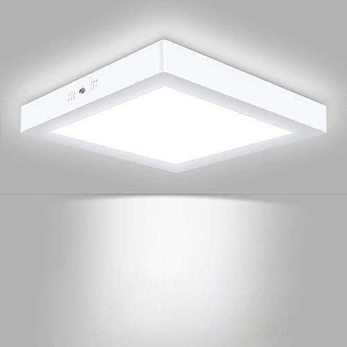 Volasal LED Deckenleuchte, Quadrat LED Panel Deckenlampe 24W ersetzt 150W Glühbirne, 30x30x3.8cm, 2000lm, Kaltweiß(6000K), Metall Rahmen, Ideal für Schlafzimmer Küche Wohnzimmer, Nicht Dimmbar