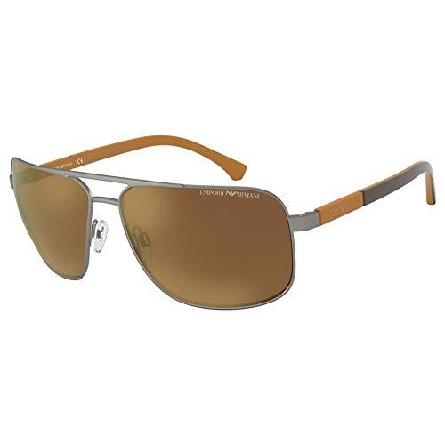 Emporio Armani Herren EA2084 Sonnenbrille, Grau (Matte Gunmetal/Brown Mirror Gold), 63