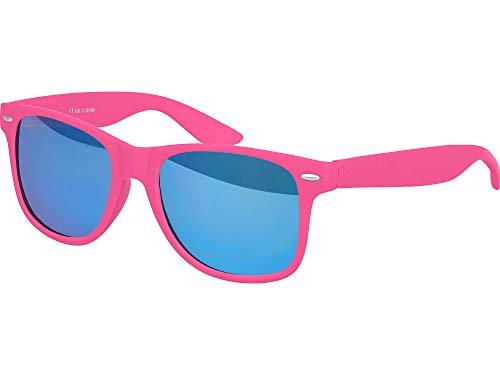 Balinco Hochwertige Nerd Sonnenbrille Rubber im Retro Stil Vintage Unisex Brille mit Federscharnier - 96 verschiedene Farben/Modelle wählbar (Pink - Blau verspiegelt)