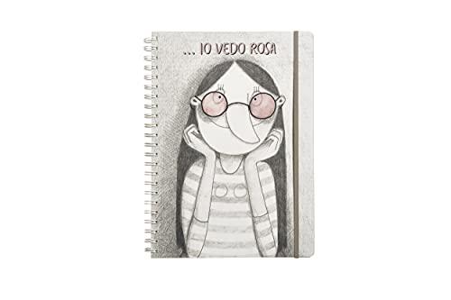 Cuaderno de espiral A4 120 hojas tapa de plástico y porta documentos cuaderno de anillas - Apto para recordatorios, escuela, oficina con gráficos de Le Nasute, temática 'Io vedo rosa'