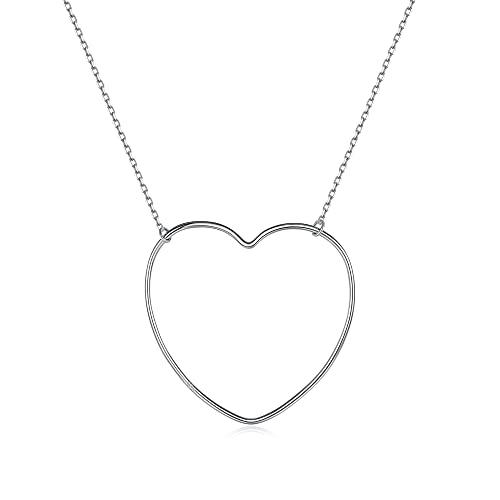 AOAVOV Collar De Las Mujeres 925 Collar De Plata Esterlina Simple Collar De Corazón Personalizado Cadena Plata Mujer San Valentín Mujer Día De La Madre Joyería De Cumpleaños Regalo De Graduación