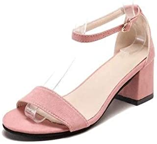 33-45 extra large women's sandals summer wild high-heeled shoes with a word buckle small size Roman sandals Simple casual sandals (Color : Pink, Shoe Size : 13)